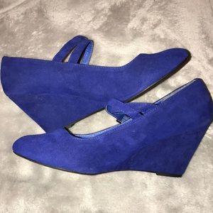 Extra Wide Blue Wedge Dress Shoe | Poshmark